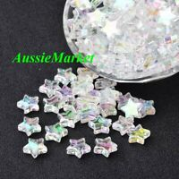 50 x star beads loose 10mm AB colour necklace bracelet jewellery making parts
