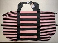 NWT VICTORIA'S SECRET VS Extra Large Pink And Black Striped WEEKENDER Tote Bag