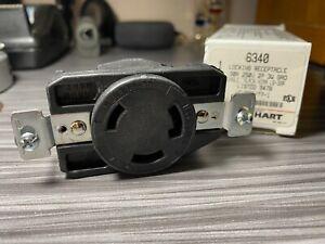 Arrow Hart 6340 Round Locking Wall Plug Receptacle 30 Amp 250 Volt 2 Pole 3W