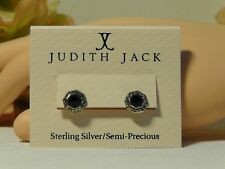 Judith Jack Sterling Silver Small Black Agate Marcasite Stud Earring**$98**NWT**