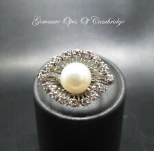 14K Gold 14ct Gold Pearl and Diamond Modernist Ring Size P 1/2 5.27g