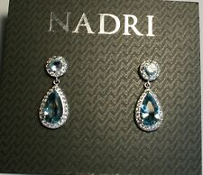 NWT- Nadri Silver Tone Clear & Blue Teardrop Crystal Earrings