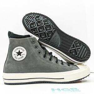 Converse Chuck Taylor All Star Leather Nubuck Boot Hi Men's Grey Black 166608C