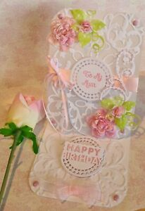 Large Personalised Women's Birthday / Greetings Pink Rose Easel Card 5in x 7in