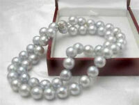 """Rare!8MM Gray Akoya shell Cultured Pearl Necklace 18""""AA"""