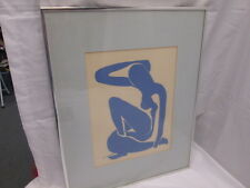 "Vintage 1950's Henri Matisse ""Abstract Blue Woman"" Lithograph Signed H. Matisse"