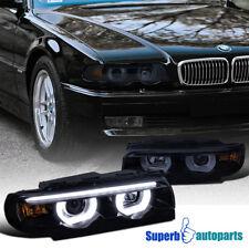 1995-2001 BMW E38 7-Series Euro Smoke Projector Headlights DRL Dual Halo LED