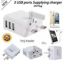 2.1A Fast 3 USB Ports Multiple Power Adapter AC Charger Travel Wall UK Plug