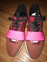 Authentic BALENCIAGA Race Runner Red Pink Purple Black Sneakers Size 40