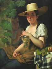 Pieter Van Hanselaere YOUNG WOMAN WITH HAT AND GRAPES Giclee Canvas Print Poster