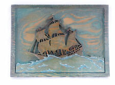Nautical Clipper Ship on the High Sea-Wood Carved-12 1/2 X 9 1/2""