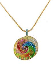Plique a Jour 7037 Stain Glass Enamel Necklace Sundial Mystical Vintage Jewelry
