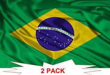 TWO PACK BRAZIL FLAG 3X5ft BRAZILIAN FOOTBALL BANNER 90X150cm POLYESTER