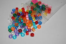 135 Pony Beads Assorted Transparent Mix 9 Colors Hair Crafts USA Free Ship