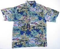 Hawaiian Islands All Over Print Silk Mens Button Up Camp Surf Shirt Vintage L