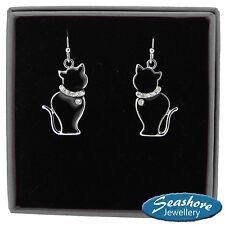 Black Cat Hook Earrings Enamel Womens Silver Fashion Jewellery 45mm Drop