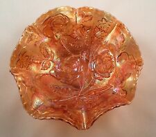 Vintage Imperial Marigold Carnival Glass Ruffled Bowl w/Open Roses