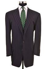 Ermenegildo Zegna Centoventimila 120s Wool Blue 2pc Suit Jacket Pants 58 48 L