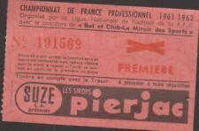 FOOTBALL TICKET CHAMPIONNAT DE FRANCE 1961/62 LILLE - LIMOGES 28 JANVIER 1962