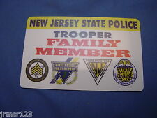 LIFETIME -PVC-NJSP NEW JERSEY STATE POLICE CARD FAMILY MEMBER PBA FOP