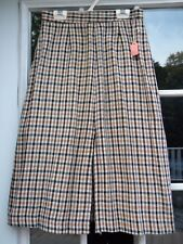 Vintage Womens Houndstooth Gray Black Beige Gold Unlined Wool Skirt Size 12 NWT