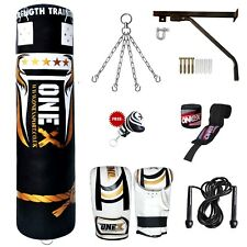 11 Piece Boxing Set 5ft Filled Heavy Punch Bag Gloves,Chains,Bracket,Kick