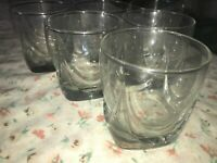 6 VTG Clear Glass Tumbler Thick Square Base Scallop ON THE ROCKS Whiskey Lowball