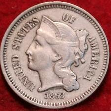 1868 Philadelphia Mint Nickel Three Cent Coin