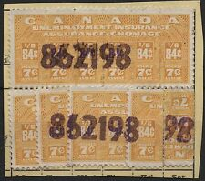 Canada VanDam # FU32 - 84c yellow Unemp. of 1950 (2 stamps* on cut document)