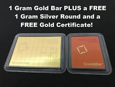 1 Gram Valcambi Suisse .9999 Fine Gold Bar +  Gold Cert. & 1g Silver Bar FREE!