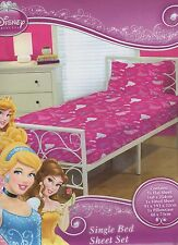 Disney Princess Licensed  Sheet Set Single Bed Fitted Flat & Pillowcases New!