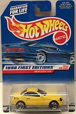 Hot Wheels 1998 First Editions MERCEDES SLK (Yellow) BLACK INTERIOR Variation