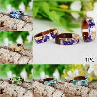 Neuheit Schmuck von Hand Ring aus Resin Ring aus Holz Pflanzen im Inneren Blume
