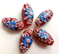 10pcs handmade Lampwork glass blue flower on red beads 15*28mm