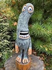 MONSTER Chainsaw Carving WACKY MONSTER DUDE White Pine Wood ONE of a KIND ART
