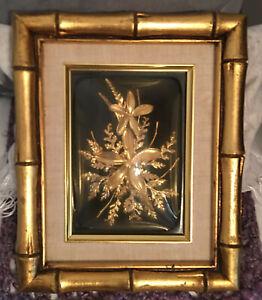Vintage Flora-Hawaii 24K Gold Encased Plumeria Flower Bubble Glass Bamboo Frame