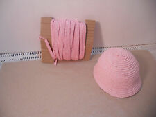 "10 Yards Pale Pink Doll Millinery Paper Hat Straw 1/4"" Bleuette Ginny & Others"