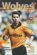 Football Programme - Wolves v Oldham Athletic - Div 1 - 17/4/1995