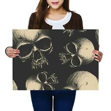 A2 | Scary Skulls Drawing Sketch - Size A2 Poster Print Photo Art Gift #14211