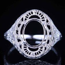 10K White Gold Fit Oval 10x8mm Gem Semi Mount Setting Women Engagement Fine Ring