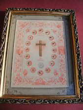 Vatican large framed 1800s reliquary 18 relics Passion Jesus Christ Holy Family