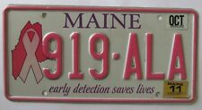 Maine 2011 BREAST CANCER GRAPHIC License Plate NICE QUALITY # 919-ALA