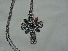 ...AVON...Silver Tone Filigree,Glass Stones Cross Pendant Necklace...