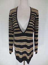 TOP Longpullover Pullover TAIFUN 38 Streifen schwarz beige Seide Wolle Lurex /U2
