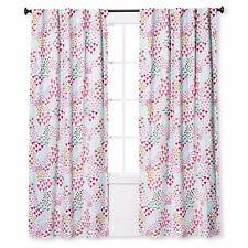 """Twill Light Blocking Floral Print Curtain Panel Apricot Ice Pillowfort 84""""L New"""
