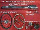 28 Streethot Rod Chrome Tilt Steering Column Floor Shift Impala Wheel Kit