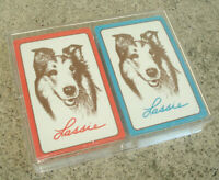 Set LASSIE Playing Cards Two Decks Packs Boxed Double Set Sealed Lucite Box NEW