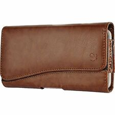 HTC Desire 510 512 ~ Horizontal Leather Pouch Case Holster Belt Clip - Brown New