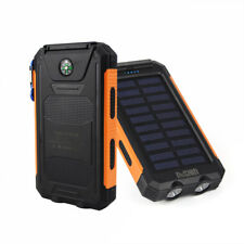 AU Waterproof 50000mah Solar Power Bank 2usb LED Battery Charger for iPhone X Style 2 & Black Orange
