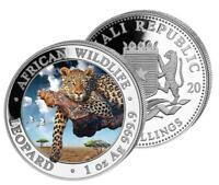 Silbermünze Somalia,  Leopard, 1 Unze, 2020 farbig, Farbe, coloriert